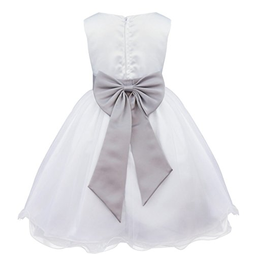 TiaoBug Kinder Kleid Blumen-Mädchen Kleidung Hochzeit Festlich 92 98 104 110 116 128 140 152 164 Grau 104