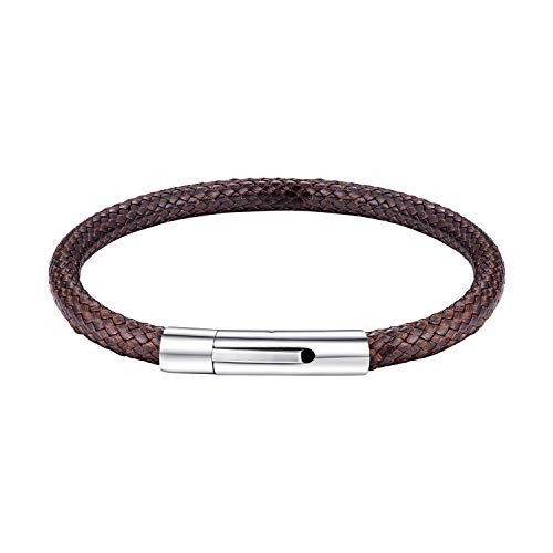 bandmax Braided Leather Cord Bracelet Jewelry Brown 5mm Width for Men Women Allergy-Free Skin-Friendly Waterproof Wax Rope Chain Bracelet for Pendant Stainless Steel Snap Clasp 8.7inch