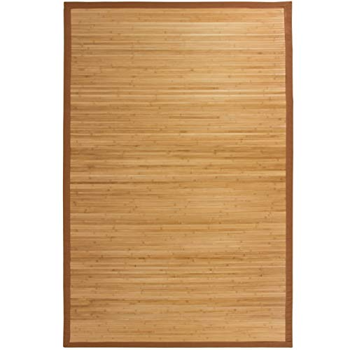 Best Choice Products Indoor 5x8ft Bamboo Runner Area Rug Accent w/Cotton-Twill Border, Non-Slip Padded Backing