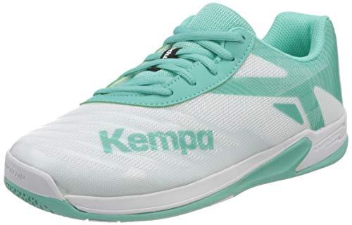 Kempa Unisex-Kinder Wing 2.0 Junior Handballschuhe, Mehrfarbig (Weiß/Türkis 05), 35 EU