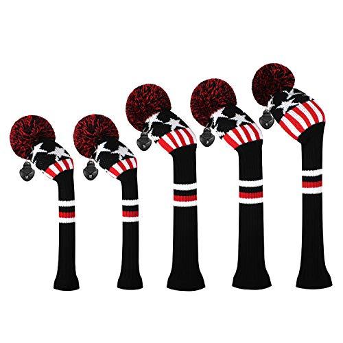 ゴルフクラブカバーは、ドライバーウッド(460 cc)1フェアウェイWood 2とハイブリッド(UT)2のためにぴったりの5つの二重層糸編みスタイル・スタイルのセットをカバーしました (Black star and Stripe)
