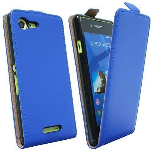 ENERGMiX Klapptasche Schutztasche kompatibel mit Sony Xperia E3 (D2203) in Blau Tasche Hülle
