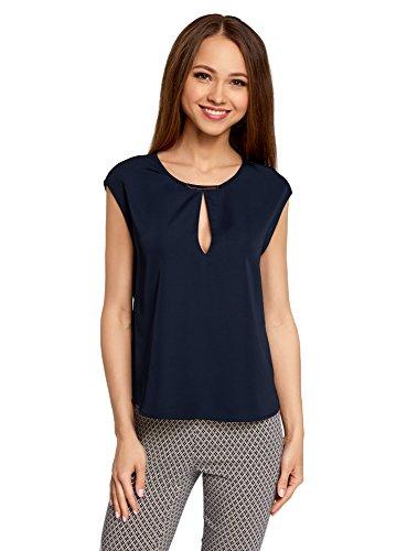 oodji Collection Mujer Blusa de Tejido Grueso con Escote Gota