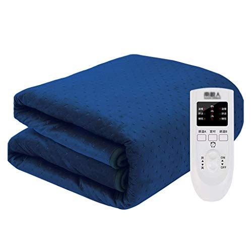 GXYtable cloth Electric Blankets, with Auto Safety Shut Off Heated Mattress Cover with Timer 3 Heat Settings Built In Advanced Overheat Protection System Electric Overblanket,Blue,160x130cm