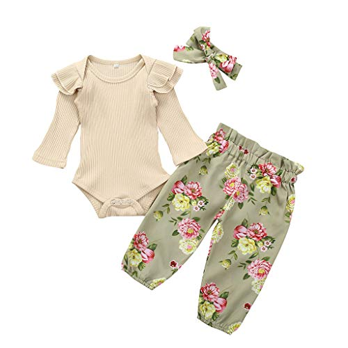 Baby Girl Clothes Pink Ruffle Sleeve Top Infant Romper Bodysuit Flamingo Pants with Headband 3Pcs Outfits Sets