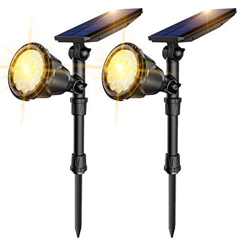 JSOT Solarlampen für Außen,IP65 Wasserdichte Gartenleuchte Solarbetriebene Leuchten 2-in-1 Landschaftsbeleuchtung 18 LED Solarstrahler Lampen für Deko Bäume Sträucher Garten Wege Rasen Garten(2 Stück)