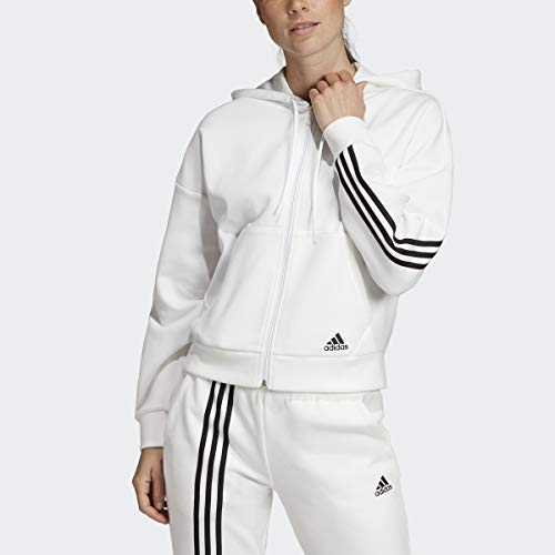 adidas Damen Must Haves 3-Streifen Hoodie, Damen, Sweatshirt, Womens Must Haves Doubleknit Hoodie, Glory Pink/Weiß, Large