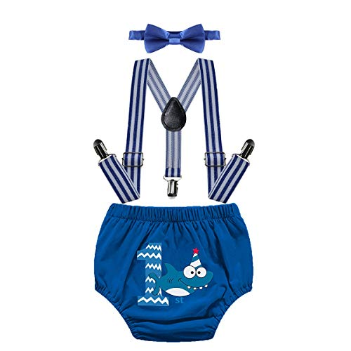 MYRISAM Baby Shark First Birthday Outfit Cake Smash Photo Shoot Bloomers Y Back Suspender Bow Tie Baby Shower Costume 12-18M