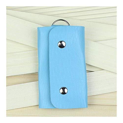Portachiavi per auto Le chiavi del cuoio del supporto del raccoglitore dell'organizzatore del inarcamento chiave sacchetto di caso di Keychain for le donne gli uomini regali di modo ( Color : Blue )