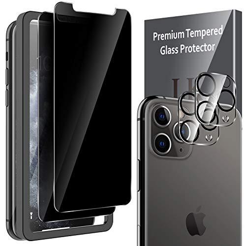 LK 4 Stück Sichtschutz Kompatibel mit iPhone 11 Pro, 2 Stück Sichtschutz & 2 Stück Kamera Panzerglas 9H Hartglas Blasenfrei Privacy Schutz Doppelter Sichtschutzfolie Schwarz