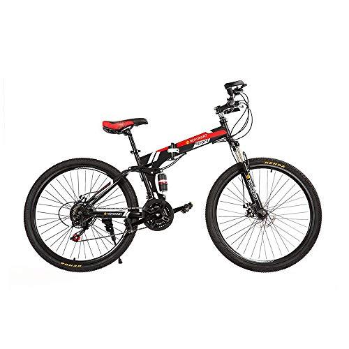 DOMDIL - Mountain Bike Pieghevole per Uomini e Donne Adulti, Bicicletta Sportiva da Montagna, MTB con 21-Stage Shift, 26 Pollici con Ruota a Raggi, Nero&Rosso