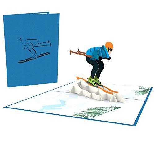 LuckeeCards Ski Karte, 3D Pop Up, Skifahrer, Skiurlaub, Winter Urlaub, z.B. als Gutschein