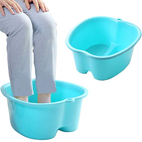 Foot Soaking Bath Basin, Large Size Feet Massager Tub, At Home Spa Pedicure Treatment (FBBlue4)