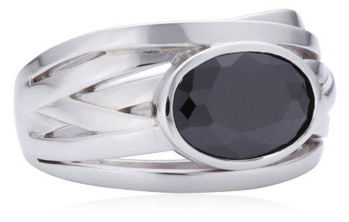 Merii Damen-Ring 925 Sterlingsilber rhodiniert Zirkonia schwarz Gr. 54 (17.2) M0524R/90/43/54