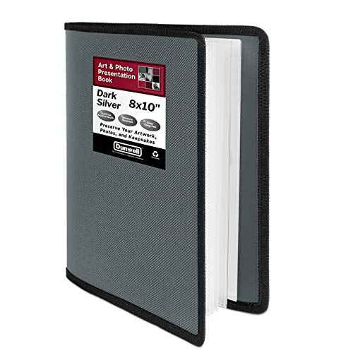 """Dunwell 8x10 Photo Album Binder - (Dark Silver, 1 Pack), 24 Pocket Bound Presentation Book, Displays 48 Pages of 8 x 10"""" Photos or Artwork, Presentation Binder with Sheet Protectors for 8x10 Pictures"""