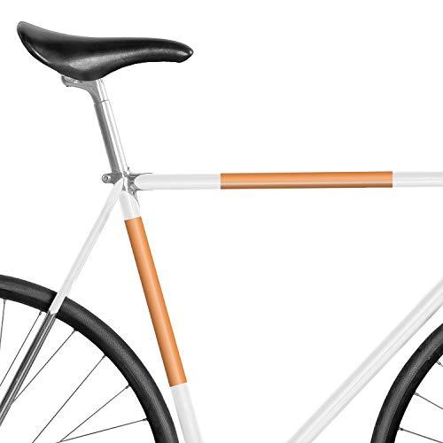 MOOXIBIKE Panel Neon Orange reflektierend, Rahmenschutzaufkleber für Rennrad, MTB, Trekkingrad, Fixie, Mountainbike, Hollandrad, Citybike, Scooter, Rollator bis circa 15 cm Rahmenumfang