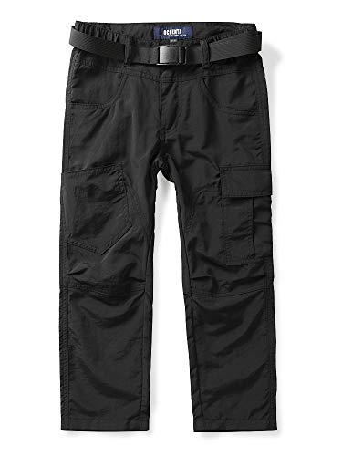 Phorecys Kids Boys Youth Hiking Cargo Pants, Outdoor Quick Dry Lightweight Trousers Black Tag 130-Age of 6