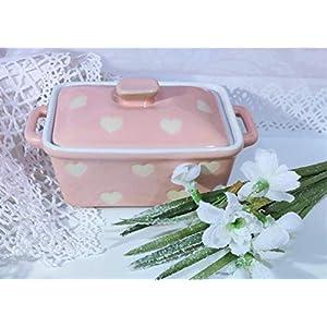 Butterdose Keramik rosa Herzen Küche gemütliches zu Hause gedeckter Tisch Geschenk neue Wohnung Weihnachten Frauen…
