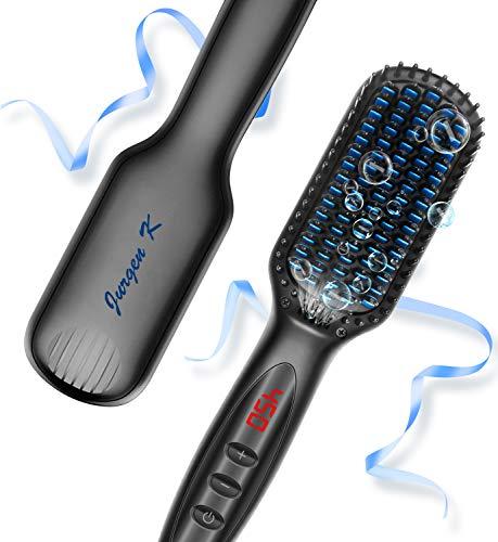 Hair Straightener Brush, Ionic Hair Straightening Brush with Anti-Scald and Auto Temperature Lock, PTC Ceramic Beard Hair Straightener Comb, Dual Voltage Hair Straightening Comb for Home and Travel