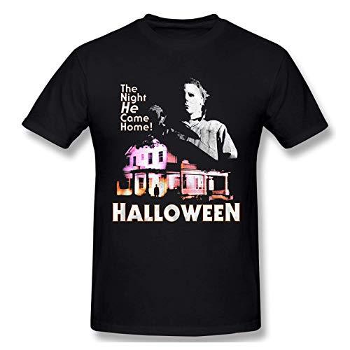 IUBBKI Camiseta básica de Manga Corta para Hombre Michael-Myers-Came-Home-Halloween-T-Shirt Men's Short Sleeve T-Shirt Cotton