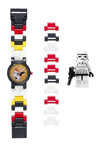 LEGO Star Wars 8020325 Sturmtruppler Kinder-Armbanduhr mit Minifigur und Gliederarmband zum Zusammenbauen, schwarz/weiß, Kunststoff, analoge Quarzuhr, Junge/Mädchen, offiziell