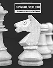 Chess Game Scorebook 110 Games 90 Moves Notation Pad: Notebook Score Book Sheets For Recording Your Moves During A Chess Match (White on Black Chess Board)