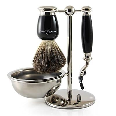 Edwin Jagger 4pc Black Shaving Set for Mach3 Blades