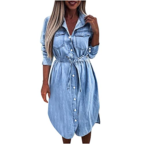 sunnymi Denim jurk voor dames, V-hals, mini-jurk, jeans, jeansjurk met knopen, casual losse korte hemdblousejurk met riem, tuniek, jeansblouse