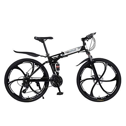 Bicicleta De MontañA De 26 Pulgadas, Bicicleta De Freno RíGido De Doble Disco para Hombres con Velocidad Ajustable, Marco De Acero De Alto Carbono Plegable, Velocidad 21/24/27