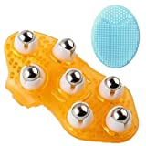 Portable Massage Glove Mitt Silicon Palm Shaped Stress Relax Massager with Soft Silicone Brush, 360 Rotating Roller Seven Ball for Cellulite Beauty Body Care