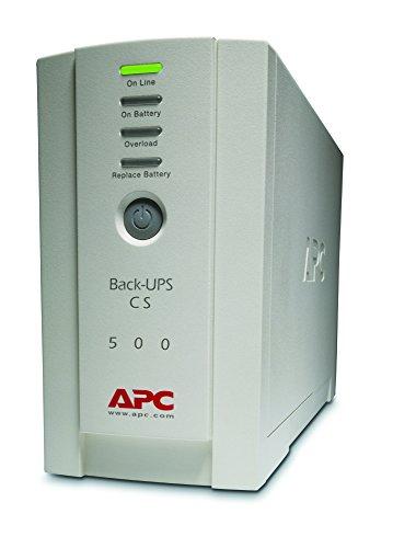APC Back UPS CS, BK500EI, Sistema de alimentación ininterrumpida, SAI, 500 VA, 4 salidas IEC, Color Beige