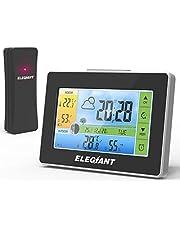 ELEGIANT [2020 stacja pogodowa z czujnikiem zewnętrznym, cyfrowy termometr wewnętrzny i zewnętrzny, higrometr z kolorowym wyświetlaczem, prognoza pogody, fazy księżyca, budzik, lampka nocna