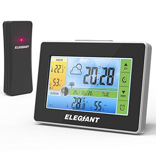 ELEGIANT [2020 Wetterstation mit Außensensor, Digital Innen und Außen Thermometer Hygrometer mit Farbdisplay, Wettervorhersage, Mondphasen, Wecker, Nachtlicht