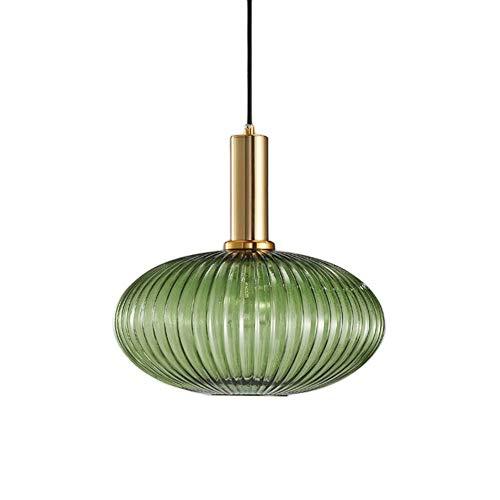HJXDtech Lampadario a sospensione industriale vintage in vetro a coste, lampada da soffitto moderna in ottone lucidato retrò per cucina salone camera da letto (Verde, 30cm)