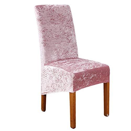 KYJSW Fundas elásticas de terciopelo aplastado XL para silla de comedor, 1/2/4/6 piezas de licra elástica para silla de comedor, decoración de banquetes de boda (rosa, juego de 1)