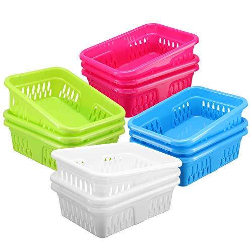 DilaBee Contenedores organizadores de plástico brillante, paquete de 12 bandejas de almacenamiento pequeñas y coloridas, cestas modulares para aulas, cajones, estantes, escritorio, armario