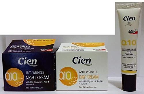 Lot de 3 Cremes Anti-rides (50mL Crème de Jour + 50mL Crème de Nuit + 15mL Crème Contours des Yeux) à base d'acide hyaluromique, de la coenzyme Q10 et de la vitamine E