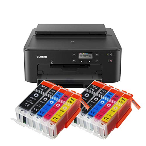 Canon Pixma TS705 TS-705 Farbtintenstrahl-Gerät (Drucker, USB, CD-Druck, WLAN, LAN, Apple AirPrint) Schwarz + 10er Set IC-Office XXL Tintenpatronen OHNE KOPIER- UND SCANFUNTKION