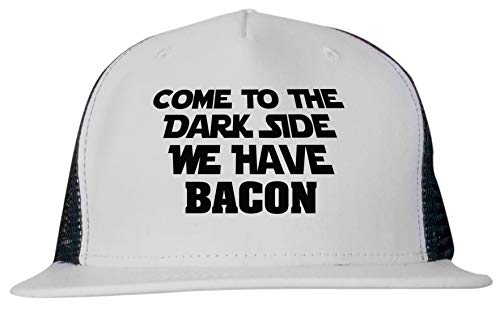 99 Volts Come to The Dark Side We Have Bacon Unisex Trucker Hat Cap Adjustable Black/White