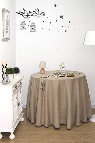 Falda Mesa Camilla Chenilla, Ropa Mesa Camilla Redonda (Beige, 90 cm)