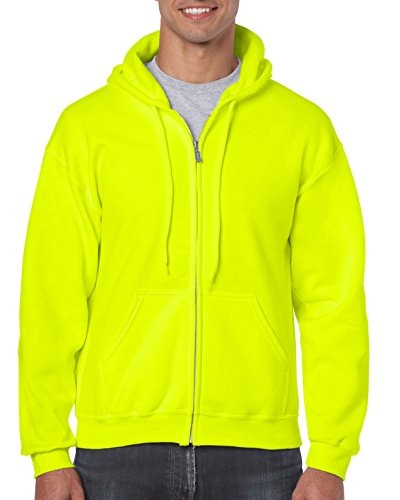 Gildan Men's Fleece Zip Hooded Sweatshirt Safety Green Small