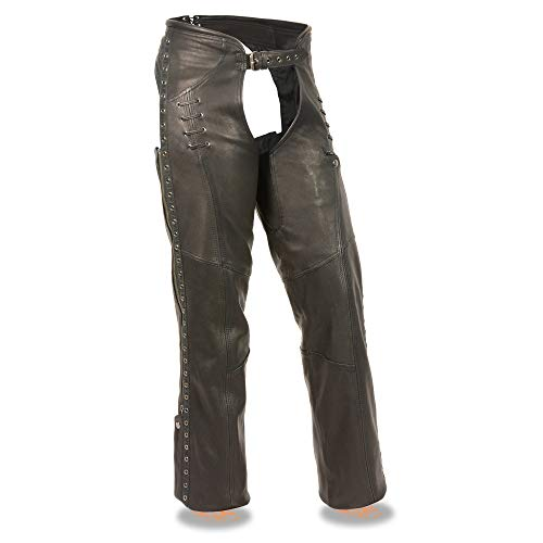 Milwaukee Leather MLL6535 Women's Black Lightweight Hip Set Leather Chaps - Small