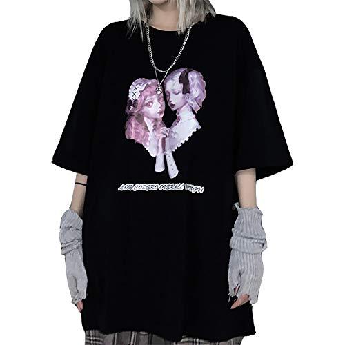 YEMOCILE メンヘラ 服 病みかわいい 原宿系 tシャツ レディース 半袖 ゆったり 夏服 トップス プリント かわいい 韓国ファッション カットソー