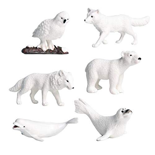 CUTICATE Modelo De 6 Piezas De Animales Polares - Simulación De Figuras De Animales Polares para La Colección Casera Juguetes De Ciencia Y Naturaleza para Niño
