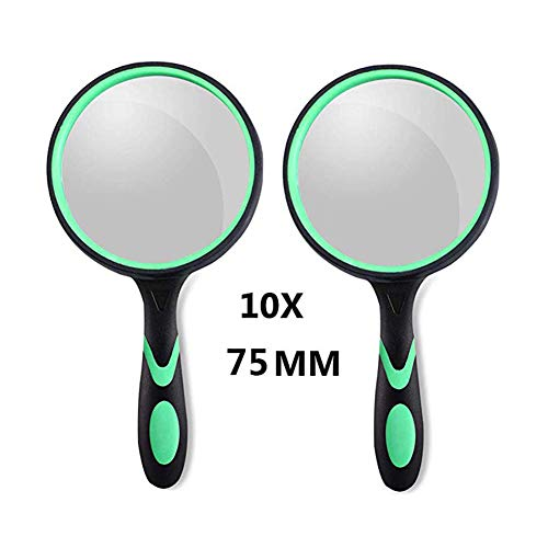 2Pack Magnifying Glass 10X, 75MM Large Magnifying Lens,Non-Slip Magnifying Glass Toy for Kids Toddler,Handled Magnifying Glass for Reading,Close Work,Insect,Science,Hobby Observation (Green 75MM)