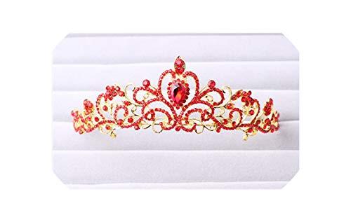 Beenle Icey-headbandDiadema con corona de princesa para mujer, con diamantes de imitación y corona de cristal, joyería de plata para novia, accesorios para el pelo, Size 93, Rojo, 1.00[set de ]