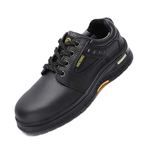 Zapatos de seguridad Zapatos de seguridad de la gorra de puntera de acero para hombres transpirables cómodos impermeables de cuero antideslizante para la construcción de zapatos de construcción (negro
