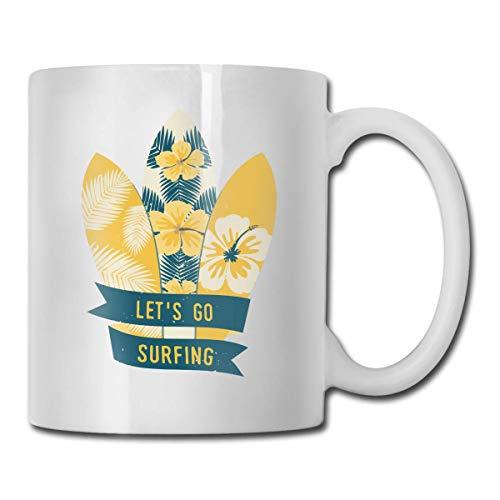 Cooler Mais-Kaffeebecher, 325 ml, lustige Kaffeetasse, Teetasse, Geburtstagsgeschenkidee für Männer und Frauen, porzellan, Surfbretter mit tropischem Design, Einheitsgröße