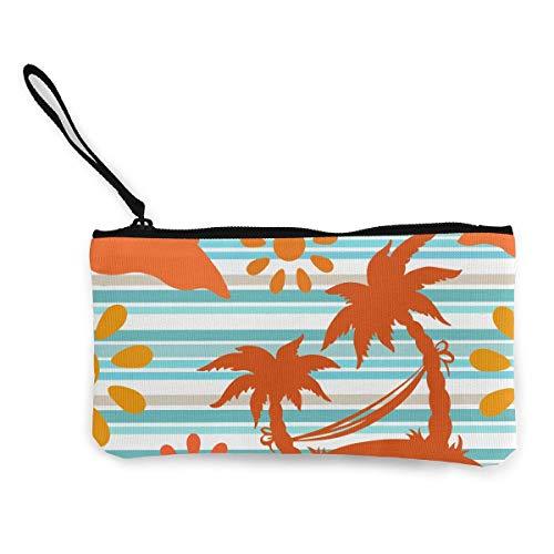 shibeili Palmen, Sonne, Hängematte Brieftasche Münzbeutel Leinwand Reißverschluss Kosmetikbeutel Tasche für Party