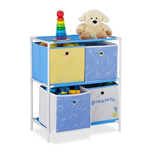 Relaxdays Kinderregal, 4 Boxen, Jungen & Mädchen, Dino-Design, Regal Kinderzimmer, Spielzeug, HBT 62 x 53 x 30 cm, bunt